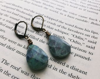 Ruby Fuchsite Earrings - Raw Stone Dangle Earrings (Ready to Ship)