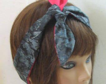 Pink and Grey HairBand, Pinup Headband, Narrow, Elastic Hairband, Rockabilly Head Wrap, Bright Colors Bandana, Scarf Bandana