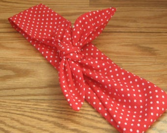 Hair Bandana, Red with White polka dots. Bandana,Hair Band, USA Hair Bandana, Boho, Patriotic Hippie, RockaBilly HairBand, Teens Women #FJ56