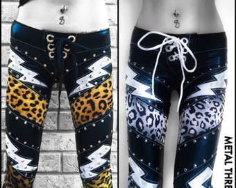 Metal Threads Thunder Kitty custom made to order Black leopard print lace up pants studded leggings stretch spandex ski