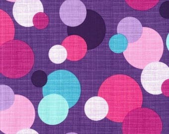 """SALE - Michael Miller, """" In the Round """", cotton fabric, purple, pink, aqua, white dots, half yard, quilt quality, on yard available"""