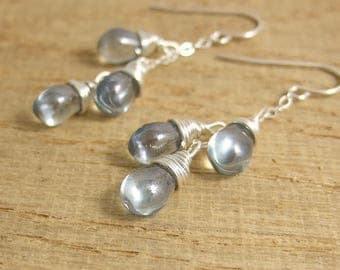 Earrings with Blue Luster Glass Teardrops Wire Wrapped in Cascades on Sterling Silver Chains CE-266