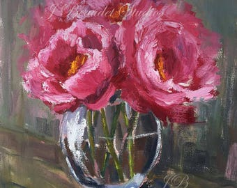 Original Oil Painting, flowers, floral art, pink, peonies, peony, oil painting, square