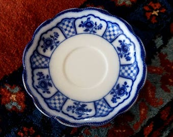 Vintage Flow Blue Saucer Melbourne Grindley Floral Lattice Blue and White England 1886