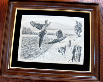 Vintage Pheasant Picture Lazer Engraved Marble Simulated Ivory Outdoor Hunting Scene Wood Frame Gold Trim