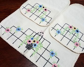 Vintage Doily Embroidered Flower Baskets Crochet Edge Pink Blue Yellow Set of Three