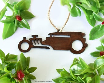 Tudor Rat Rod Rusty Metal Ornament / Christmas Ornament / Light Pull / Car Ornament /Gifts for Him/Gift for Gearhead / Vintage Car/Metal Car