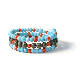 Aromatherapy Turquoise, Red & Lava Rock Wrap Bracelet, Essential Oil Diffusing Jewelry