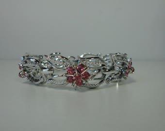 CORO Silver Tone with Pink Flowers  Rhinestones Bracelet. Mid century.