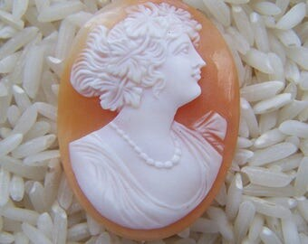 Woman With Pearls Carved Shell Cameo