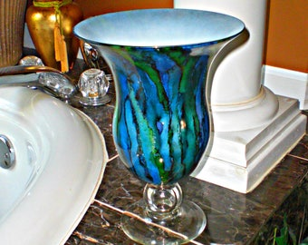 glass vase decor | stemmed  glass vase | blue glass vase | hand painted glass vase | flower vase | colorful vase | vase centerpiece | vase