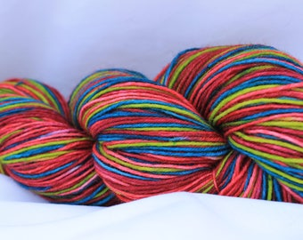 Hand painted self striping wool nylon sock yarn (92 Grams 3.2 oz) #196
