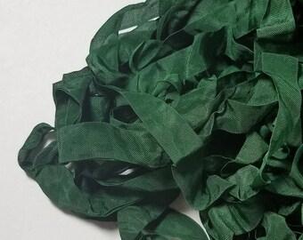 Dark Everest Green Shabby RIBBON crinkled vintage seam binding
