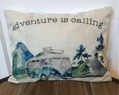 Adventure is calling Pillow. Wanderlust Pillow. Watercolor Camper Pillow. Camping Gift. Farmhouse Pillow. Mountain Pillow. VW camper.