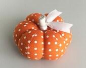 Cute Orange and White Polka Dot Cotton Pumpkin Pincushion