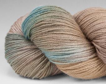 Handpainted Yarn, Merino Silk 50/50, Alight, Fingering Wt, 100 g, Rhyolite Robin's Egg