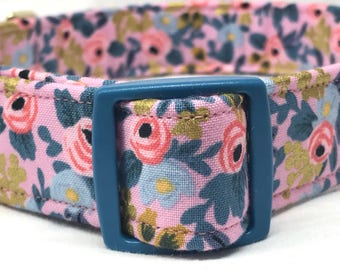 SALE 50% Off- Rifle Paper Co. Dog Collar Les Fleurs Fabric Wedding Pink Flowers Metallic Gold Violet