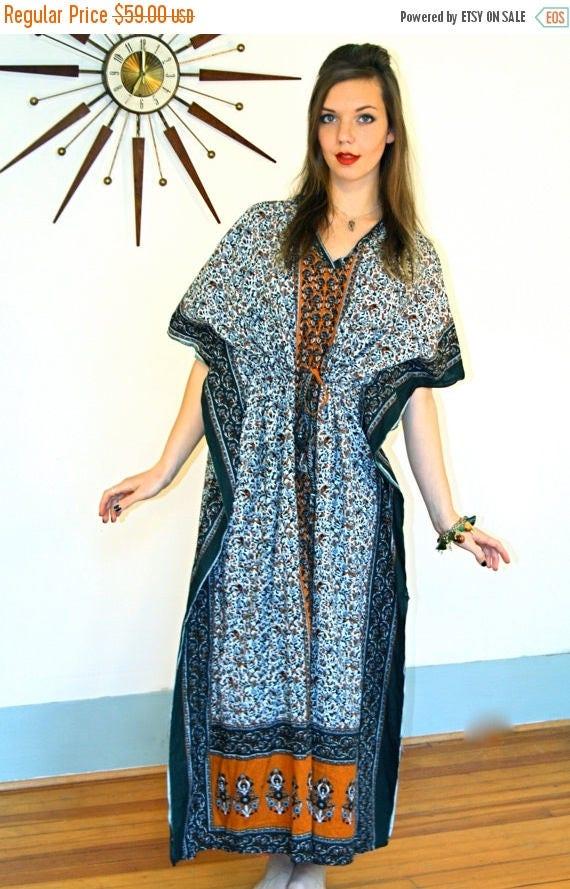 SALE 50% OFF Vintage Hippie Kaftan Indian Paisley Kurta Maxi Dress Dashiki Green Orange Block Print India Cotton Draw String Cover Up 80s Ca