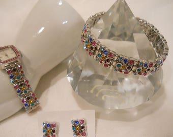 Watch Bracelet Earrings Set Multi Color Bezel set Rhinestones Set Suzanne Somers 3 piece set