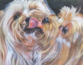 "YORKSHIRE TERRIER yorkie dog art portrait canvas PRINT of LAShepard painting 12x16"""