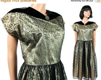 ON SALE SALE! 40s 50s Cocktail Dress M Vintage Black Velvet Flocked Tulle Lace Mesh Gold Satin Prom Evening Formal Cap Sleeve Gown Free Us S