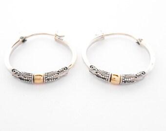 1.25 inch Balinese Sterling Silver Hoop circles creolen earrings /  gold 18 ct / silver 925 / Bali Handmade Jewelry