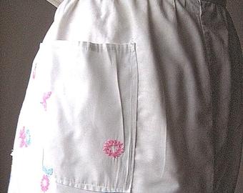 APRON Kitchen Skirt Bottom Cover PINAFORE Vintage White Cotton Embroidered Pastel Wreaths