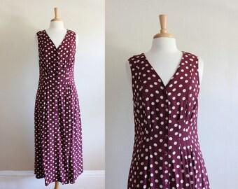 Vintage Sleeveless Maroon Dot Rayon Midi Dress