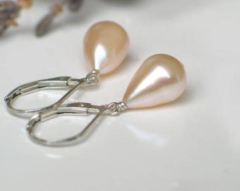 Teardrop Pearl Earrings | Ivory Champagne Freshwater Pearls | Sterling Silver Leverback Dangles | Birthday | Everyday Pearl | Ready to Ship