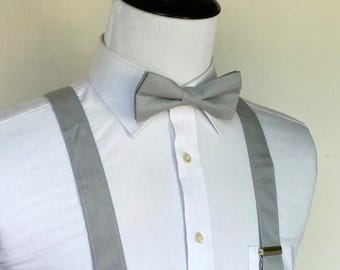 SALE Gray Bowtie and Suspenders Set - Men, Teen, Youth              2 weeks before shipping