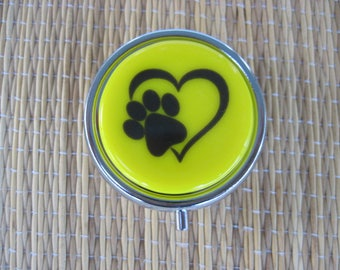 Paw Print and Heart Fused Glass Metal Pill Box Case Holder