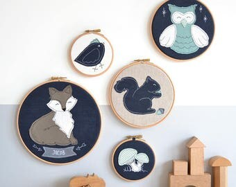 Woodland Animals Personalised Embroidery Hoop Nursery Pictures