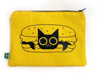Hamburger Cat Zipper Pouch