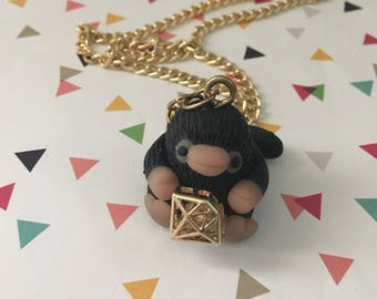 Niffler Necklace with Diamond - Harry Potter - Fantastic Beasts - Polymer Clay - Ready to Ship