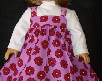 "ON SALE 18"" Doll Clothes, Fits 18"" American Girl Doll,jumper, turtleneck shirt, purple, flowers, ag doll, am girl,american,doll cloths,READY"
