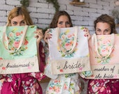Floral Tote Bags, Bridesmaids Tote bags, Bridesmaids gifts, Bridal Party gift, Wedding Tote Bags, Monogrammed Tote Bags, Bridesmaids Totes