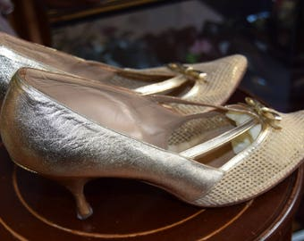 1950's Gold Mesh and Leather Shoes size approx UK 6