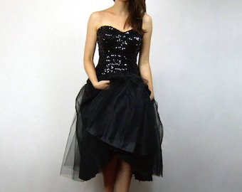 Sequin Party Dress Vintage New Years Eve Dress 80s Strapless Dress Black 1980s Prom Dress - Small to Medium S M