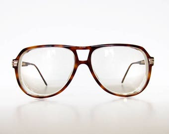 Vintage Gucci Glasses Tortoise Shell Frames Brown Oversized 80s Aviator Glasses GG 1100 Eyeglasses