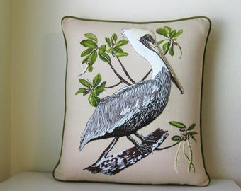 Vintage Pelican Pillow, Beach Decor Canvas Pillow