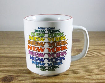 Vintage New York Mug, Rainbow Typography