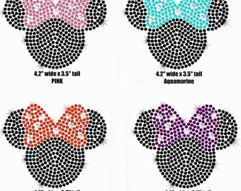 "4.2"" black Minnie Mouse iron on hot fix rhinestone transfer for Disney t-shirt"