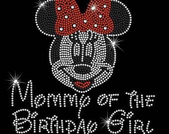 SALE BIG Minnie Mouse Mommy of the Birthday Girl iron on rhinestone transfer with pink or red bow
