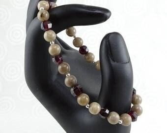Petoskey stone and garnet stretchy beadwork bracelet with sterling silver January birthstone B1064