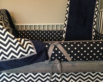 Baby bedding boy Crib sets Navy Blue chevron, Gray and White  Chevron  DEPOSIT DOWN PAYMENT Only