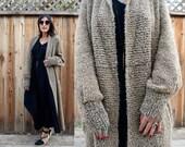 Vintage 80s CHUNKY MAXI Cardigan Sweater L XL