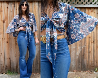LIMITED Gypsy Eyes HANDMADE FREEBIRD Crop Top with Flutter Sleeves Os