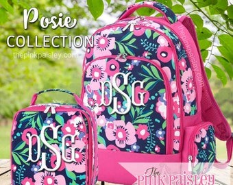 Monogrammed Backpack and Lunch Box | Personalized Backpack | Girls School BookBag | Back To School | Posie Collection