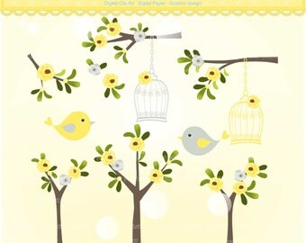 ON SALE yellow birdcage and flower branch clip art, flowers clipart, Digital clipart, birdcage clipart, invitations, yellow grey
