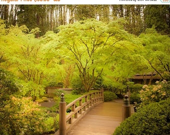 SUMMER SALE-Ends July 5- Japanese Garden Photograph Spring Photo Zen Buddhism Print Green Trees Wooden Bridge Fine Art Print  nat69
